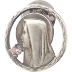(10月)ピンクトルマリン マリアコイン シルバー ピンバッジ ピンズ  誕生石