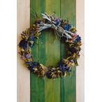 ドライフラワー ナチュラルリース2 青系色シャビーシック 30cm dried flower Wreath