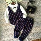 キッズ 子供 3ピース フォーマル セットアップ スーツ 子供服 ストライプ