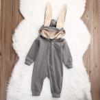 ベビー 服 カバーオール ウサギちゃん 長袖 パジャマ 赤ちゃん フード