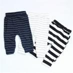 【Sale】ベビー パンツ ボーダー柄 ホワイト ネイビー 子供服 スウェット