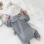 ベビー服 ラップ ロンパース グレー ホワイト 天使の羽根付き パジャマ
