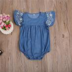 ショッピングロンパース ベビー ロンパース サマーデニム風 刺〓入り 子供服 ブルー