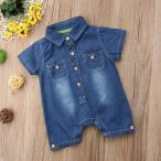 ベビー服 デニム風 ロンパース 半袖 男の子 夏 子供服 ブルー