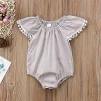 ベビー服 ロンパース 半袖 女の子 グレー フォーマル カバーオール 赤ちゃん