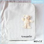 ショッピング母子手帳 フランストラセリア 母子手帳ケース Mサイズ クマ付 ホワイト×ブラックドット Trousselier 1786/541