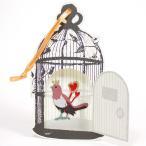おむつケーキ・出産祝いギフトにプラス【アップリケ付グリーティングカード】 ピンクの小鳥