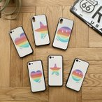 iPhoneケース スマホケース レインボー 名入れ 文字入れ イニシャル オリジナル オーダーメイド  iPhone12 iPhone12Pro mini SE iPhone11 iPhone7 XR XS max