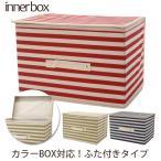 送料一律299円 インナーボックス 蓋付き カラーボックス 引き出し かわいい ボーダー 折りたたみ バスケット 定番 ほこりよけ 収納ボックス ふたつき ボックス