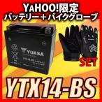グローブ付! YUASAユアサ YTX14-BS 互換/GTX14-BS FTX14-BS DTX14-BS XJR1200 ZZR1100 W650 ZX12-R 初期充電済 即使用可能