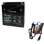 【バッテリー+P-Power充電器セット】 台湾 ユアサ YTX16-BS + PerfectPower バイクバッテリー充電器 互換 GTX16-BS FTH16-BS DTX16-BS 初期充電済 即使用可能