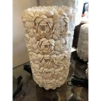 バリ製 テーブルランプ (M)円柱型 アジアンスタイル 貝がら シェル フラワーデザイン リゾート感