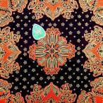 ショッピングプリント プリント バティック アジアン雑貨 インテリア 布 テーブルクロス カバー インドネシア ジャワ 更紗 パラン柄と花と植物のモチーフ ブラック × オレンジ