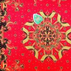 ショッピングプリント プリント バティック アジアン雑貨 インテリア 布 テーブルクロス カバー に最適 インドネシア ジャワ 更紗 花と植物と蝶のモチーフ レッド × ブラック
