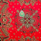 ショッピングプリント プリント バティック アジアン雑貨 インテリア 布 テーブルクロス カバー インドネシア ジャワ 更紗 紋章柄と花と植物のモチーフ 1 ブラック × レッド
