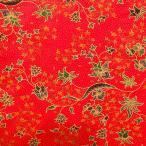 ショッピングプリント プリント バティック アジアン雑貨 インテリア 布 テーブルカバー に最適 インドネシア ジャワ 更紗 草花のモチーフ レッド