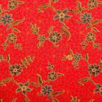 ショッピングプリント プリント バティック アジアン雑貨 インテリア 布 テーブルカバー に最適 インドネシア ジャワ 更紗 草花のモチーフ (パターン2) レッド