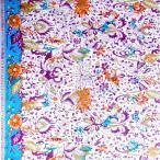 ショッピングプリント プリント バティック アジアン雑貨 インテリア 布 ベッドカバー に最適 インドネシア ジャワ 更紗 花と草と木のモチーフ パープル × ブルー × カーキ