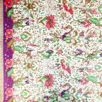 ショッピングプリント プリント バティック アジアン雑貨 インテリア 布 ベッドカバー インドネシア ジャワ 更紗 植物のモチーフ アップルグリーン × カーキ × パープル(片端)