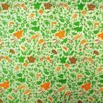 ショッピングプリント プリント バティック アジアン雑貨 インテリア 布 ベッドカバー インドネシア ジャワ 更紗 花と草と木のモチーフ2  アップルグリーン×オレンジ×ブラウン