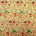ショッピングプリント プリント バティック アジアン雑貨 インテリア 布 ベッドカバー インドネシア ジャワ 更紗 花と草と木のモチーフ2 ブラウン×グリーン×ワインレッド