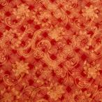 ショッピングプリント プリント バティック アジアン雑貨 インテリア 布 ベッドカバー に最適 インドネシア ジャワ 更紗 花のモチーフ レッドブラウン × アイボリー