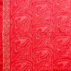 ショッピングプリント プリント バティック アジアン雑貨 インテリア 布 ベッドカバー に最適 インドネシア ジャワ 更紗 草のモチーフ レッド