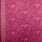 ショッピングプリント プリント バティック アジアン雑貨 インテリア 布 ベッドカバー に最適 インドネシア ジャワ 更紗 草のモチーフ パープル