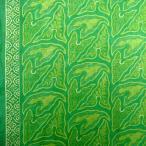 ショッピングプリント プリント バティック アジアン雑貨 インテリア 布 ベッドカバー に最適 インドネシア ジャワ 更紗 草のモチーフ グリーン
