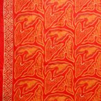 ショッピングプリント プリント バティック アジアン雑貨 インテリア 布 ベッドカバー に最適 インドネシア ジャワ 更紗 草のモチーフ オレンジ