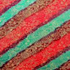 ショッピングプリント プリント バティック アジアン雑貨 インテリア 布 ベッドカバー インドネシア ジャワ 更紗 花と草のモチーフ2 レッド×ワインレッド×ターコイズブルー