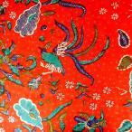 ショッピングプリント プリント バティック アジアン雑貨 インテリア 布 ベッドカバー に最適 インドネシア ジャワ 更紗 鳥と花と草木のモチーフ オレンジ