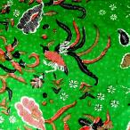 ショッピングプリント プリント バティック アジアン雑貨 インテリア 布 ベッドカバー に最適 インドネシア ジャワ 更紗 鳥と花と草木のモチーフ グリーン