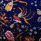 ショッピングプリント プリント バティック アジアン雑貨 インテリア 布 ベッドカバー に最適 インドネシア ジャワ 更紗 鳥と花と草木のモチーフ ネイビー
