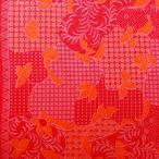 ショッピングプリント プリント バティック アジアン雑貨 インテリア 布 ベッドカバー に最適 インドネシア ジャワ 更紗 植物のモチーフ3 レッド