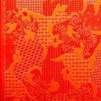 ショッピングプリント プリント バティック アジアン雑貨 インテリア 布 ベッドカバー に最適 インドネシア ジャワ 更紗 植物のモチーフ3 オレンジ