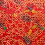 ショッピングプリント プリント バティック アジアン雑貨 インテリア 布 ベッドカバー に最適 インドネシア ジャワ 更紗 植物のモチーフ (パターン4) レッド