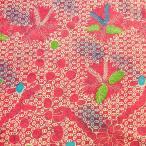 ショッピングプリント プリント バティック アジアン雑貨 インテリア 布 ベッドカバー に最適 インドネシア ジャワ 更紗 植物のモチーフ (パターン4) ピンク