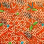 ショッピングプリント プリント バティック アジアン雑貨 インテリア 布 ベッドカバー に最適 インドネシア ジャワ 更紗 植物のモチーフ (パターン4) オレンジ
