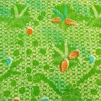 ショッピングプリント プリント バティック アジアン雑貨 インテリア 布 ベッドカバー に最適 インドネシア ジャワ 更紗 植物のモチーフ (パターン4) ライトグリーン