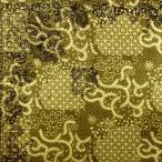 ショッピングプリント プリント バティック アジアン雑貨 インテリア 布 テーブルクロス カバー インドネシア ジャワ 更紗 放射星のモチーフ オリーブ × アイボリー × イエロー