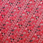 ショッピングプリント プリント バティック アジアン雑貨 インテリア 布 テーブルカバー に最適 インドネシア ジャワ 更紗 花と草のモチーフ レッド
