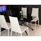強化 黒ガラス 天板 伸長式 リフティングテーブル デザイナーズ チェア セット 昇降 伸長式テーブル イタリア製 テーブル 幅110〜150cm