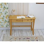カントリー調 無垢木製 カントリーパインデスク シンプルデザイン デスク バレンシアデスク(単品)ナチュラル色/木製取手