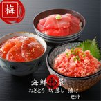 (送料無料)海鮮福袋「梅」鮪3種入り 食べ比べ 寿司  マグロ ねぎとろ 贈り物 豪華セット