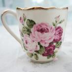 マグカップ おしゃれ プレゼント 葉型 陶器 薔薇 ローズ 花柄 アニバーサリーローズ