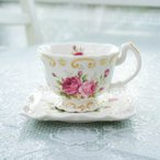 コーヒーカップ&ソーサー おしゃれ 薔薇 ローズ ピンク ラレーヌデローズ