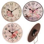 掛け時計 置き時計 両用 丸形ローズ クロック クラシック調 薔薇 おしゃれ