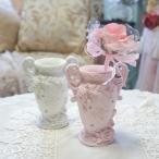 ローズレリーフ ペンスタンド ピンク・ホワイト ローズ ラインストーン キラキラ 薔薇 薔薇とレースと天使のお店
