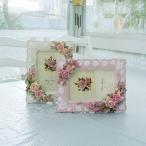フォトフレーム 写真立て 縦横両用 フローラルローズ ピンク ベージュ かわいい 薔薇